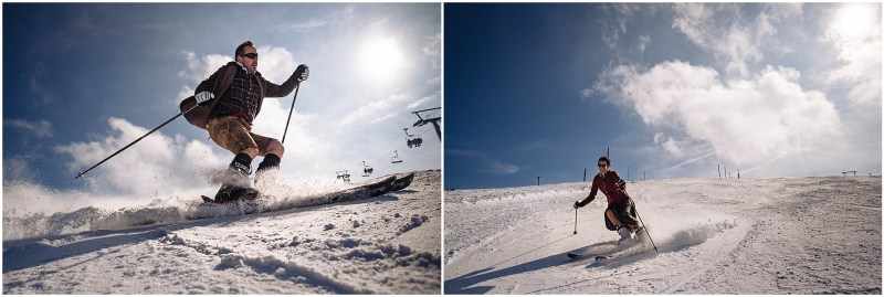 brautpaar auf ski
