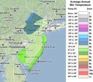 New Jersey USDA Zones
