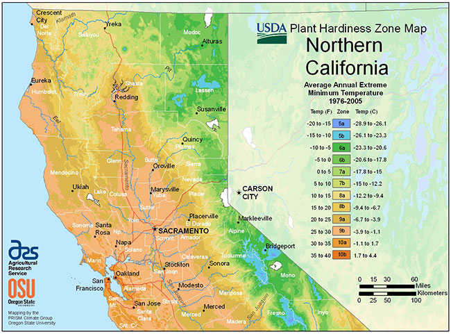 northern california hardiness zone map