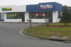 When service members ask about title loans at TitleMax, they're directed to InstaLoan, TitleMax's sister company, which provides installment loans. Outside of Fort Stewart in Hinesville, Ga., that's next door. Photo: Mitchell Hartman/Marketplace