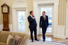 President Barack Obama and Prime Minister David Cameron of the United Kingdom talk in the Oval Office before their meeting in March 2012. (Official White House Photo by Pete Souza)