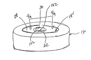 A sketch from the patent for Dr. Abner Levy's resealing restrictor.