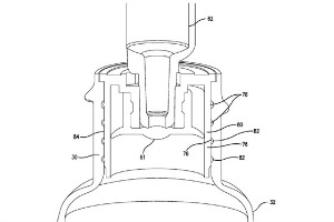 A diagram from the patent for Comar's press in bottle adapter.
