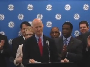 Gov. Rick Scott with Jacksonville Mayor Alvin Brown and GE representatives on Friday