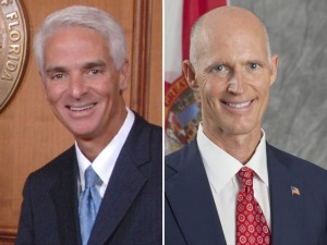 Former Gov. Charlie Crist, left, and Gov. Rick Scott