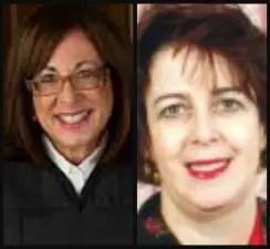 Broward County Court Judges Sharon Zeller, right, and Ginger Lerner-Wren