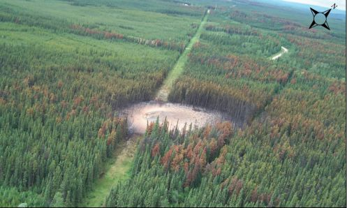 Aerial view of the explosion site of Spectra Energy's Nig Creek Pipeline in 2012. Photo: Transportation Safety Board of Canada