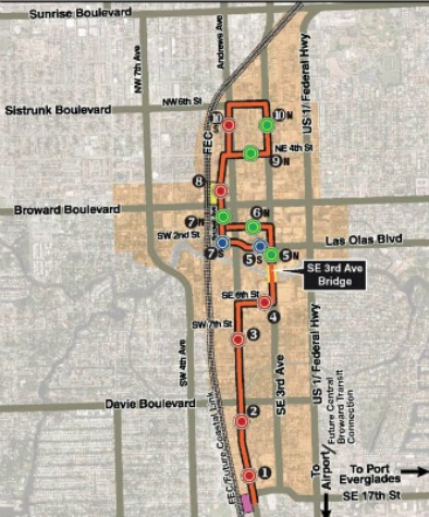 The proposed route of Fort Lauderdale's WAVE streetcar