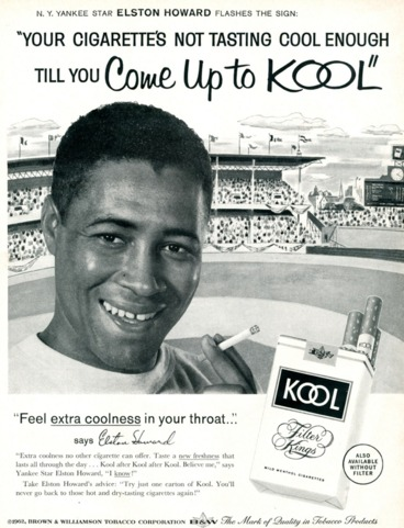 "New York Yankees star Elston Howard touted Kool's throat-soothing ""extra coolness'' in this 1962 ad."