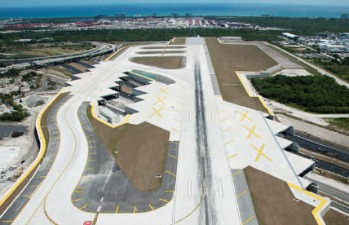 Fort Lauderdale-Hollywood International Airport's expanded south runway looking east over the U.S. 1 and railway tunnel structures.