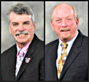 Interim Broward Health CEO Kevin Fusco, left, and former chief financial officer Robert K. Martin