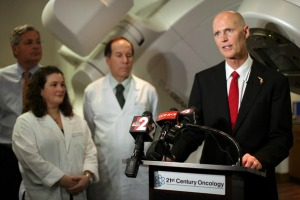 Gov. Rick Scott speaks about cancer research funding at 21st Century Oncology, April 10, 2014 Photo: Dania Maxwell/Political Fix Florida, the joint bureau of Naples Daily News / Tampa Tribune / Treasure Coast in Tallahassee.
