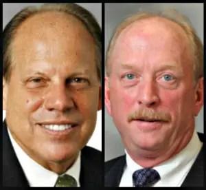 Ex-Broward Health Medical Center Chief Executive Calvin Glidewell, left, and former Broward Health CFO Robert K. Martin