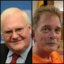 Epidemiologist James Hall, left, and drug addiction interventionist John Schmidt