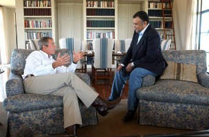 President George W. Bush meets with Saudi Arabian Ambassador Prince Bandar bin Sultan at the Bush Ranch in Crawford, Texas in 2002. Photo: Wikimedia Commons
