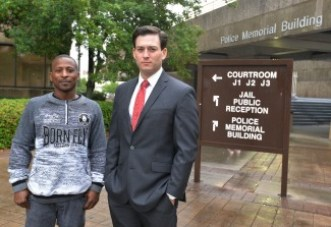 Michael Mills (left) and his attorney Finley Williams outside the Duval County courthouse in Jacksonville, Fla. Mills' cellphone data got charges against him dropped — six months after he was arrested. He would have been in jail all that time had he not been able to afford his bail.