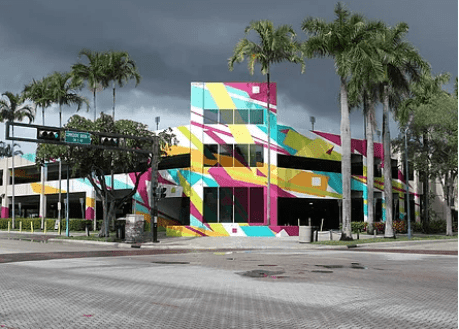 The art mural installed on the parking garage in Fort Lauderdale's Arts & Entertainment District