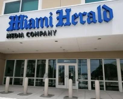 entrance to Miami Herald building
