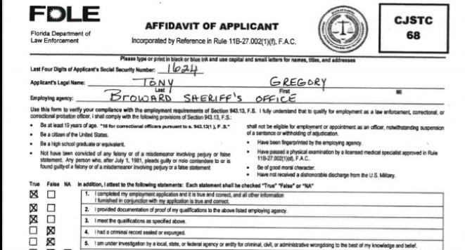 image of the Florida Department of Law Enforcement affidavit signed by Broward Sheriff Gregory Tony