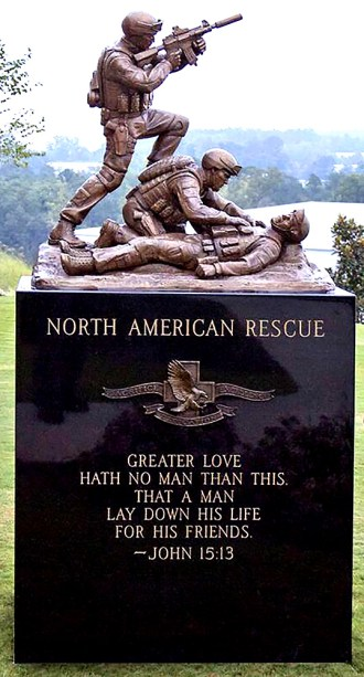 A bronze memorial at North American Rescue's headquarters in Greer, S.C.