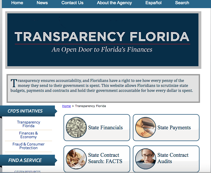 The State of Florida website where COVID-19 contracts are supposed to be made public, but aren't.