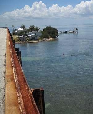 a Keys: Old Seven Mile Bridge with rusting railroad tracks as guard rails