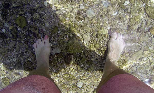 Clear water at beach at Peanut Island, Palm Beach, Florida