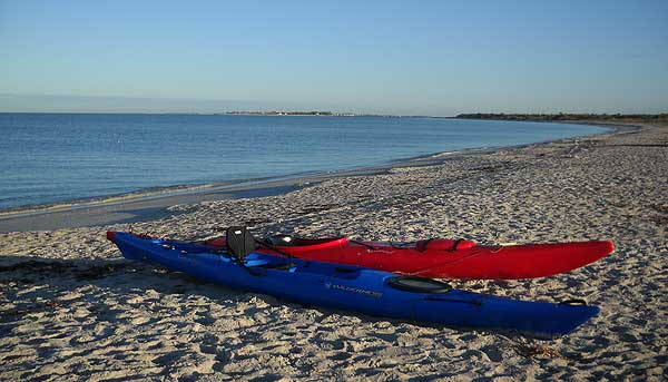 Kayaks on the beach at Cayo Costa