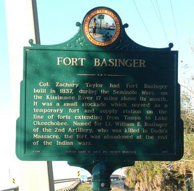 Fort Basinger historic landmark sign