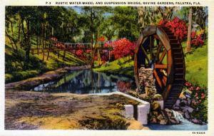 Historic water wheel at Ravine Gardens State Park, Palatka, Florida