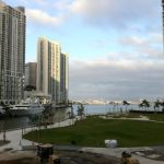 Miami Circle Park with a view of Miami River and Biscayne Bay