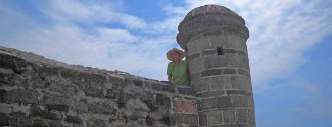 The fort is built of coquina, like Castillo San Marco in St. Augustine.