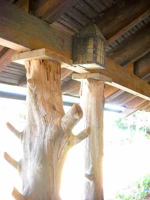 Pillars made from tree trunks on Princess Place lodge, Palm Coast, Florida