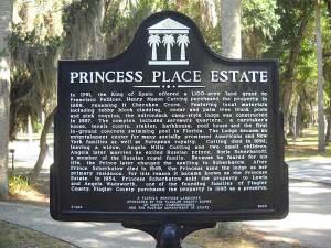 Historic sign at Princess Place Preserve, Palm Coast, Florida