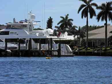 Paddling past the Royal Palm Yacht Club marina.