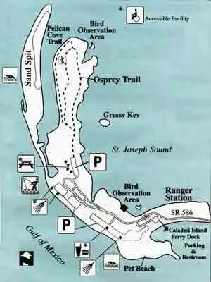 Honeymoon Island, Dunedin, park map