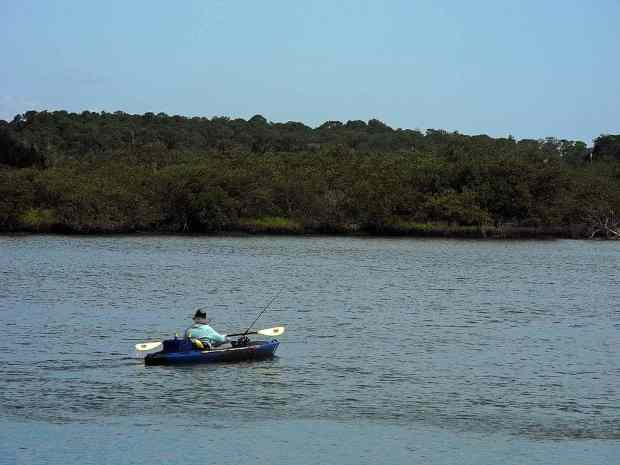 Kayak fishing on Strickland Bay near the mouth of Spruce Creek