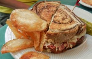 Reuben sandwich at dining room of historic Hotel Jacaranda in Avon Park.