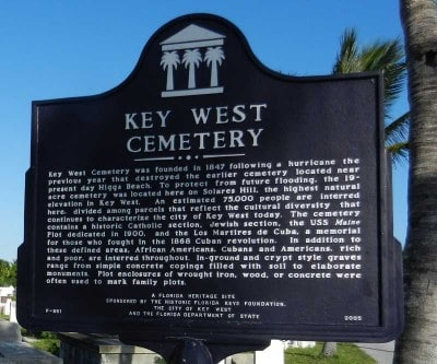 Key West Cemetery historic marker