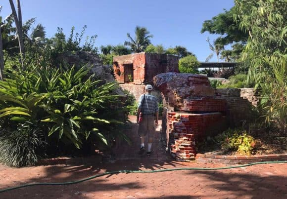 West Martello Tower is a Civil War-era fort that fell into disrepair and became home to the Key West Garden Club. This broken archway was the site of a large ficus tree that blew down in Hurricane Irma in 2017. (Photo: Bonnie Gross)