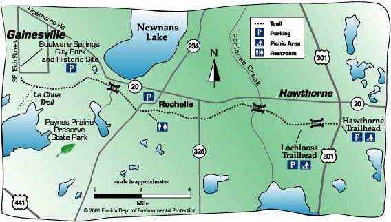 Map of Gainesville-Hawthorne State Trail