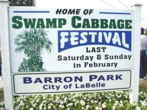 labelle swamp cabbage festival sign