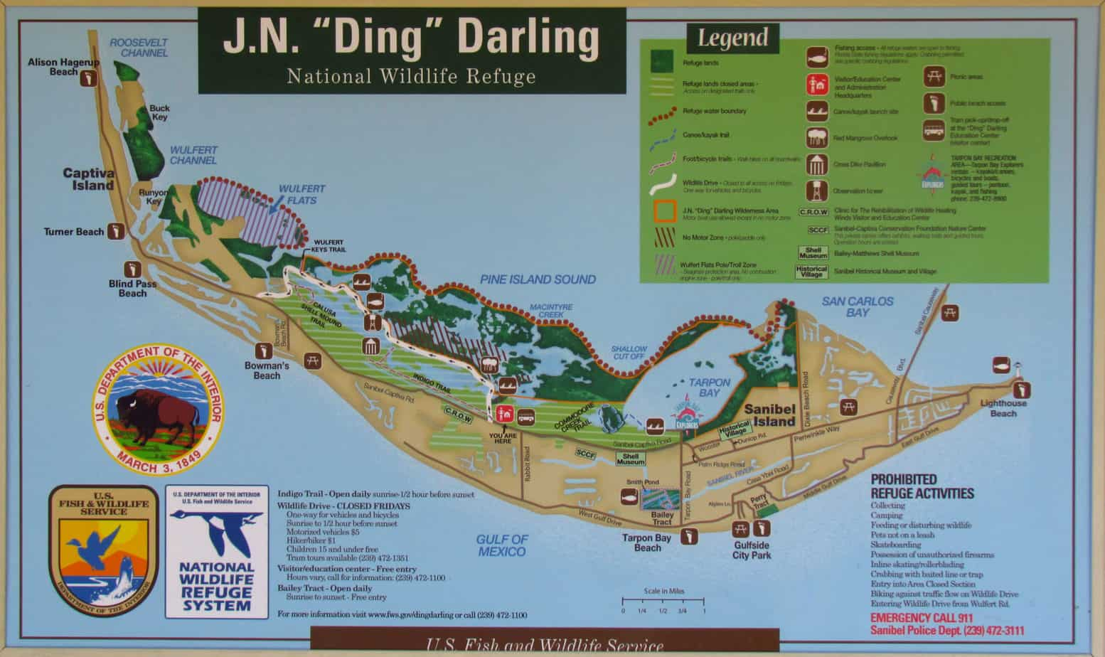 sanibel in fall 'ding' darling days oct    florida  - map of 'ding' darling national wildlife refuge on sanibel island