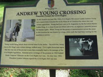 St. Augustine sign marks where Civil Rights leader Andrew Young led a peaceful march