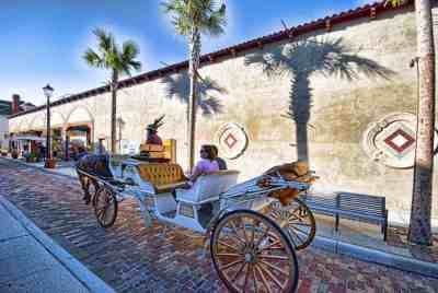 Horse-drawn carriages are popular in St. Augustine. (Courtesy FloridaHistoricCoast.com)