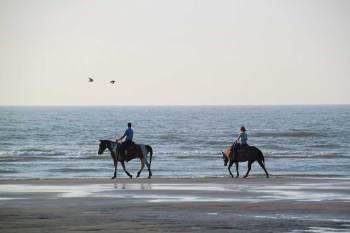Beach horseback riding.