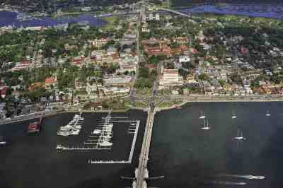Aerial view of central district of St. Augustine. (Courtesy FloridaHistoricCoast.com)