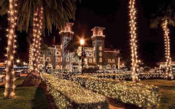Lightner Museum decorated during St. Augustine Nights of Lights (Photo courtesy FloridasHistoricCoast.com.)