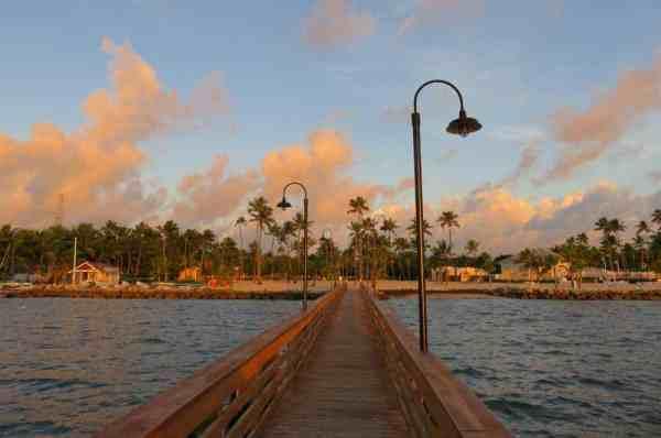 Dawn at the pier at the Islander Resort, a classic Islamorada hotel.