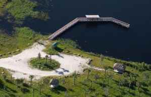 aerial view of the fishing pier and pond